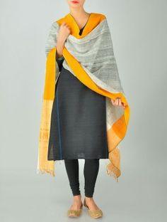 Grey-Yellow Cotton & Tissue Dupatta