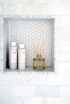 shower niche with penny tile Bathroom Niche, Shower Niche, Bathroom Toilets, Master Bathroom, Bathroom Ideas, Silver Bathroom, Bathroom Showers, Turquoise Bathroom, Shower Tiles