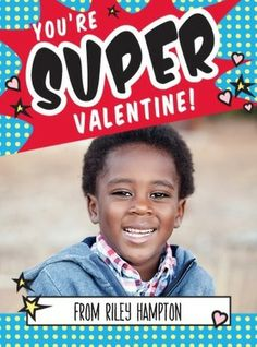 Super Shout - Valentine's Day Cards for Kids in Precious Blue. #ValentinesDay