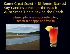 Sex on the Beach Scented Soy Candles and Scent Tins by CT River Candles  #soycandles #scentedsoycandles #madeinct #madeinamerica