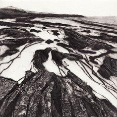 Anita Reynolds, Day Towan Beach, collagraph & drypoint print, 17 x Landscape Art, Landscape Paintings, Collagraph Printmaking, Contemporary Printmaking, White Art, Art Techniques, Light In The Dark, Art Prints, Printing
