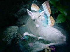 ooak woodland unicorn faery sculpture handmade by ElementalHeart, $82.00