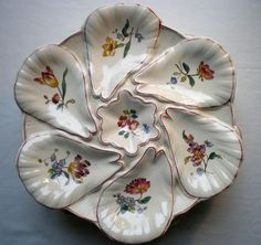 RARE ANTIQUE LONGCHAMP OYSTER PLATE FRENCH MAJOLICA