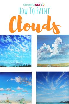 How to Paint Clouds - Createful Art Canvas Painting Tutorials, Acrylic Painting Lessons, Acrylic Painting For Beginners, Acrylic Painting Techniques, Beginner Painting, Art Techniques, Diy Painting, Painting & Drawing, Moon Painting