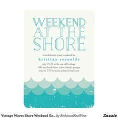Vintage Waves Beach Weekend Getaway Invitation Bachelorette parties