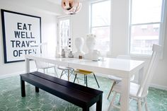 "A DIY Pro Shows Off Her Upgraded Pad #refinery29  http://www.refinery29.com/2013/12/59257/youfinder-katalina-mayorga#slide-7  What is your proudest DIY from the renovation?    ""The dining room floor is my proudest DIY. The tiles themselves were our big splurge and I sourced them from Marrakech Design in Sweden. The cost of the tiles plus the shipping meant that we really needed to do the rest on a tight budget; as in, we could not hire anyone to do the labor-intensive part of actually laying ..."