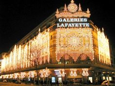 "(This is my 3rd pin of this place - I'm in awe of the difference between ""the states"" department store (a.k.a. mall) & the French version! ~ The Galeries Lafayette is a French department store company located on Boulevard Haussmann in the 9th arrondissement of Paris."
