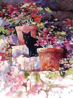 Simon Bull black cat and flowers