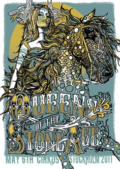 Queens Of The Stone Age poster for Stockholm Cirkus May 6 3 colour screen printed signed and numbered limited edition of featuring gold ink. Stoner Rock, Art Hippie, Hippie Style, Concert Rock, Rock Band Posters, Caricatures, Illustration Photo, Tour Posters, Music Posters