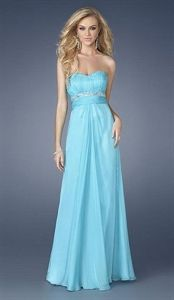 Sultry Aqua Pleated Bodice Sweetheart Chiffon Prom Dress 15013 La Femme   $130.00