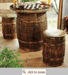 Whiskey Barrel Game Table & Stools Western Bar, Western Style, Western Man Cave Ideas, Western Saloon, Rustic Style, Eclectic Bar Tables, Bistro Tables, Pub Tables, Whiskey Barrel Decor