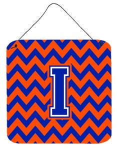Letter I Chevron Orange and Blue Wall or Door Hanging Prints CJ1044-IDS66