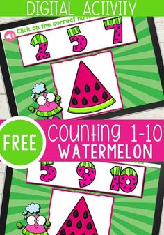Your preschoolers will love counting up to 10 with Winnie Watermelon in this free Google Slides activity. You can even use these for your kindergarteners to practice their counting! Your students will help Winnie count the seeds in the watermelons for this fun summer digital activity! Enjoy this fun counting activity for summer! #digitalactivities #kindergartenmath #digitalmath #preschoolmath #countingactivities #kindergarten #preschool  #googleslides #freegoogleslides Counting Activities For Preschoolers, Summer Preschool Activities, Kindergarten Math Activities, Motor Skills Activities, Math Concepts, Business For Kids, Free Printable, Watermelon, Seeds