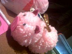 Little pink pig pompon :D #craft #DIY for my niece :D