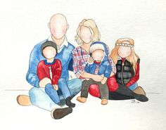$30 and up for Custom watercolor faceless family paintings by brushwork by…