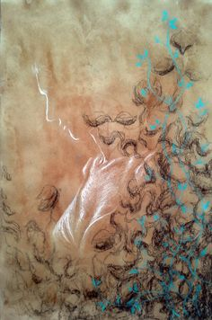 Paper darkened with coffee, decorated with leaf shadows and blue leafs, and a silhouette of a woman in white Chalk Drawings, Watercolor, Drawings, Watercolor Tattoo, Painting, Art, Silhouette, My Arts