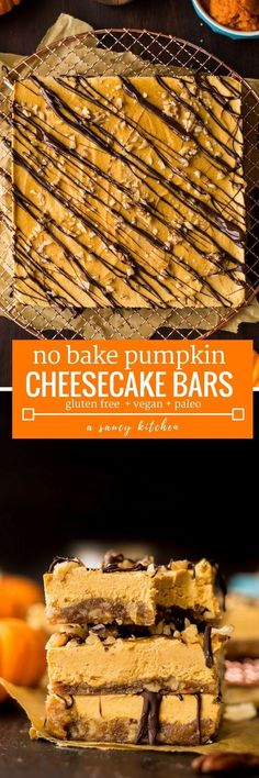No Bake Pumpkin Cheesecake Bars - A naturally sweetened nut and date crust topped with a creamy cashew and pumpkin cheesecake and sprinkled with crushed pecans and a drizzle of chocolate | Gluten Free + Paleo + Vegan