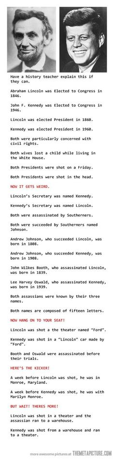 DEBUNKED/Legend: Please click through and read Snopes.com article. http://www.snopes.com/history/american/lincoln-kennedy.asp