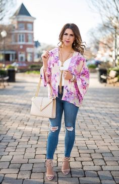 trend to try kimonos, how to wear a kimono, trends to try this spring, floral kimono, purple kimono, distressed jeans, lace up heels, ysl purse, charming charlie necklace, anthropologie kimono, spring fashion spring outfit ideas, spring outfit inspo, here's the skinny, the skinny blog, here's the skinny by bailey schwartz