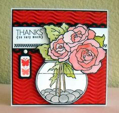 card - Scrapbook.com - beautifully stamped and colored thank you card