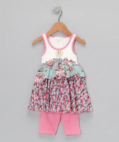 Take a look at this Blue Floral Tiered Tunic & Leggings - Infant, Toddler & Girls by Baby Sara on #zulily today!