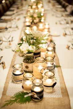 also cute table setting idea if we go with less flowers. However prefer no linens, like the wood tables