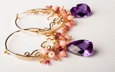 Colorful Gemstone Earrings w/ Plum Alexandrite by mosaicdesign, $350.00