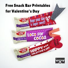 Printable Valentine's Day Wrappers for Snack Bars - HomeRoom Mom
