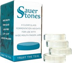 Sauer Stones - Large Glass Fermentation Weights for Mason Jar Fermentation, Preservation and Pickling - Fits Any Wide Mouth Mason JAR - 4 Pack Mason Jars For Sale, Wide Mouth Mason Jars, Kimchi, Marker, Pickling Crock, Fermented Foods, Preserves, Pickles, Frugal