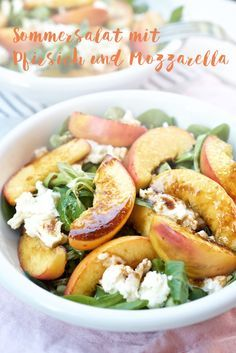 Feldsalat mit gebratenem Pfirsich und Mozzarella   Pinkepank (7) Kopie