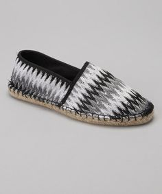 Take a look at this Black & White Sequin Zigzag Espadrille Flat - Women by Capelli New York on #zulily today!