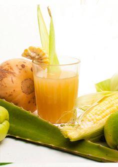 Mexican Sunrise: corn, jicama, cherimoya, pinepple, aloe, lemon, lime, agave, cayenne