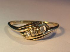 Vintage Promise RIng with Diamonds 10K Gold by My3LadiesJewelry, $119.95