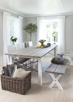 Farmhouse Dining Table with Bench + Chair Combo Furniture Styles, Home Decor Furniture, Home Furnishings, Cosy Interior, Home Interior Design, Dining Table With Bench, Dining Area, Simple House, Decoration