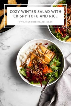 The BEST cozy winter salad with crispy tofu and rice. Serve it with sunflower seeds and the most amazing nutritional yeast dressing. | Nourished by Caroline #salad #vegan #vegasalad #veganrecipes #healthyrecipes #healthy #easyrecipes #beets #carrots #rice #tofu #tofurecipes #glutenfree #nutfree