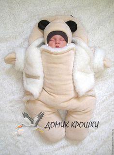 Для новорожденных, ручной работы. Комбинезон-конверт для новорожденного…