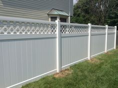 White Vinyl Privacy Fence With Topper Beautiful Design Ideas Designs