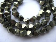 handmade freeform nuggets faceted golden nautral pyrite iron bead 7mm   jewelryshop - Jewelry Supplies on ArtFire