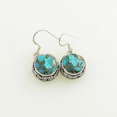 Blue Copper Turquoise Earrings - keja jewelry