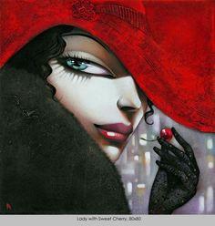 ❤️ Ira Tsantekidou- Paintings since 2008 - Lady with Sweet Cherry