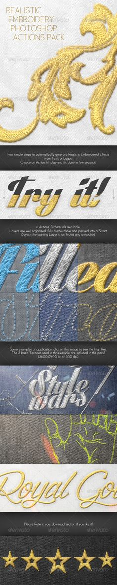 Realistic Embroidery - Photoshop Actions --- Transform your Text or Logo in a Realistic Stitched or Embroidered Style in few clicks!