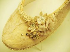 Wedding Flat Shoes Champagne Lace Vintage-Modern inspired