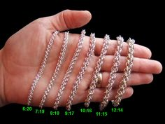 "Great site - ""Jens Pind - an extremely cool spiral chain. The rings are so tight that it locks the spiral in place. Very important to get the right ring size for this weave! Too loose and it doesn't lock, too tight and it's impossible to make.   Sizes 6:20, 10:16, and 12:14 are fantastic. Sizes 8:18 and 9:17 work well enough once the whole chain is made, but newly added rings have enough room that they try to hop over to the wrong place. Sizes 7:19 and 11:15 are in between - not quite as…"