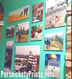 Gallery wall of countries traveled. Jamie Soucy; owner of Fun4Less Vacations. Designed by @Shelley Bragg Smith.  Prints from #Persnickety