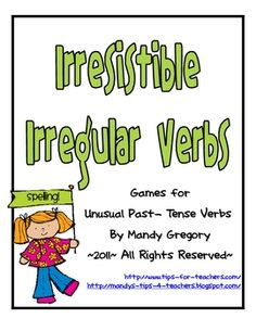 Free Irresistible Irregular Verbs: Spelling and Grammar Games Grammar Games, Grammar Skills, Grammar And Punctuation, Spelling And Grammar, Spelling Games, Verb Games, Speech Therapy Activities, Language Activities, Therapy Games
