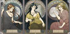 the Parcae (the Moirae) - Nona (Clotho), Morta (Atropos) and Decima (Lachesis)