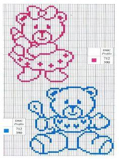 Risultati immagini per piccoli orsetti a punto croce