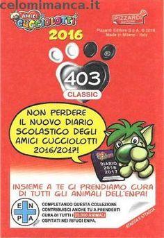 Amici Cucciolotti 2016: Retro Figurina n. 403 Gatto con canestro di frutta