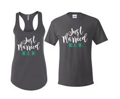 Just Married Shirts, Hubby shirt, wifey shirt, honeymoon shirts, engagement gift, Mr and Mrs Shirts by TFactors on Etsy https://www.etsy.com/listing/461573352/just-married-shirts-hubby-shirt-wifey