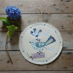Tableau textile oiseau bleu Illustration par EphemereCollection, €25.00